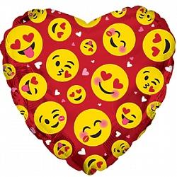 Сердце влюблённые смайлы красное