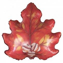 Осенний лист с жёлудями фольгированный шар с гелием