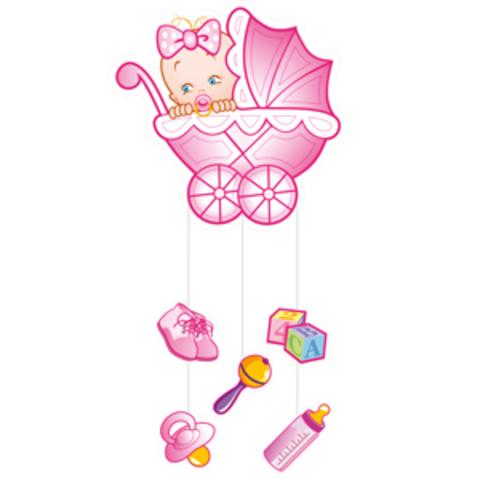 Плакат с подвесками Коляска для девочки