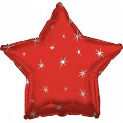 Звезда с искорками красная
