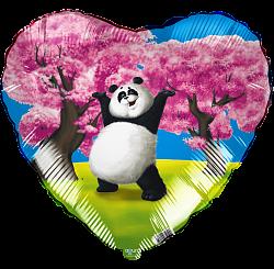 Милая панда под сакурой