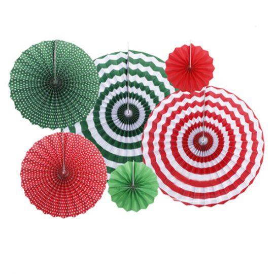 Набор из 6 фантов Красно-Зелёный в полоску