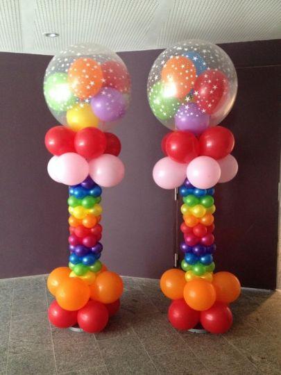 Шар-сюрприз на колонне с крупными шарами