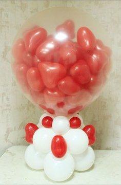 Настольный средний шар-сюрприз с сердечками