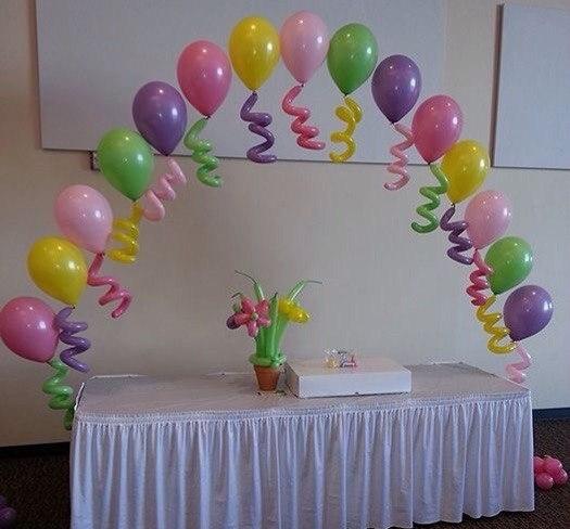 Арка из 15 шаров со спиральками