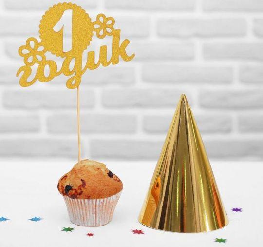 Золотой набор 1 годик: топпер + колпак