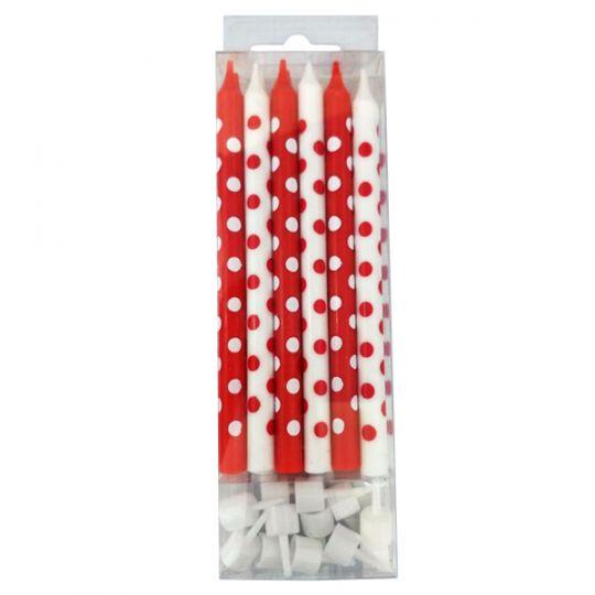 12 шт красно-белых свечей в горошек (12 см)